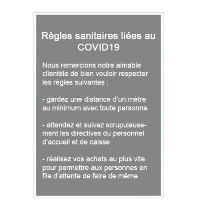 Panneau règles sanitaires coronavirus covid19