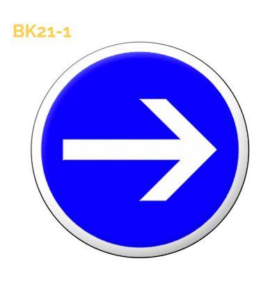 BK21-1 Panneau temporaire obligation de tourner à droite Mysignalisation.com