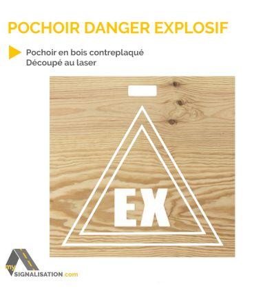 Pochoir danger explosif en bois d s 62 40 ht for Pochoir pour miroir