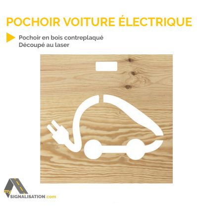 pochoir voiture lectrique en bois d s 26 40 ht. Black Bedroom Furniture Sets. Home Design Ideas